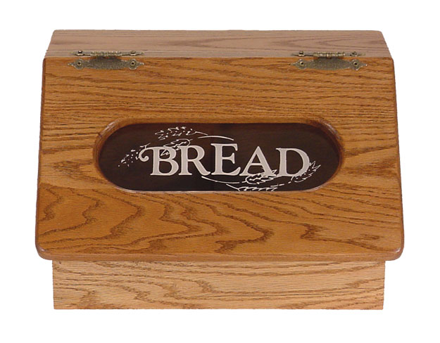 Amish Made Solid Oak Bread Box With Slant Top Four
