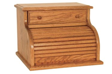 Picture of Solid Cherry, Oak, Maple,  Roll Top Bread Box with Drawer