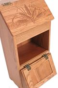 Picture of Solid Oak Potato Bin with Bread Box & Wheat Carving