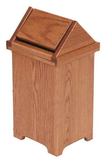 Picture of Solid Oak Flip Top Small Trash Bin