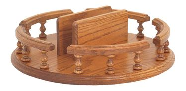 "Picture of Solid Oak Lazy Susan with Spindle Rail and Napkin Holder 12"" or 14"""