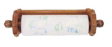 Picture of Solid Oak Paper Towel Holder Scalop Design Under Cabinet Mount