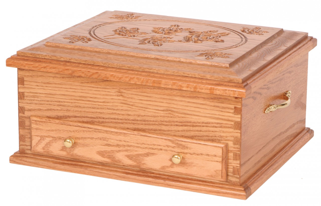Solid Oak Or Cherry Silverware Chest Rose Design Four