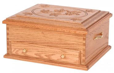 Picture of Solid Oak or Cherry Silverware Chest Rose Design