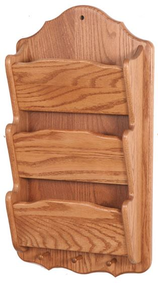 Picture Of Solid Wood Mail Organizer 3 Tier Vertical Wall Mount