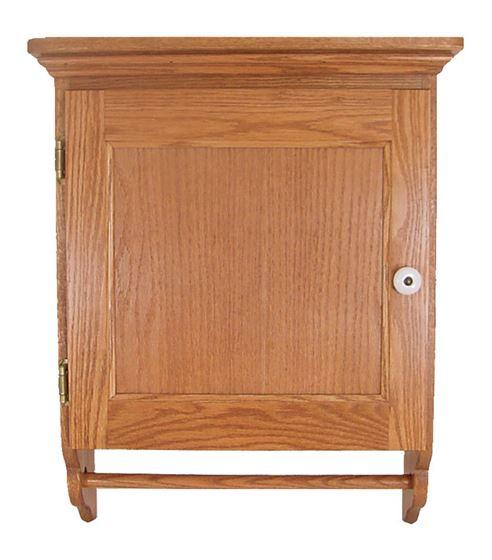 Picture of Solid Oak Bathroom Cabinet with Door-Wall Mount