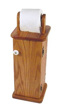 Picture of Solid Oak Toilet Paper Holder and Storage Cabinet