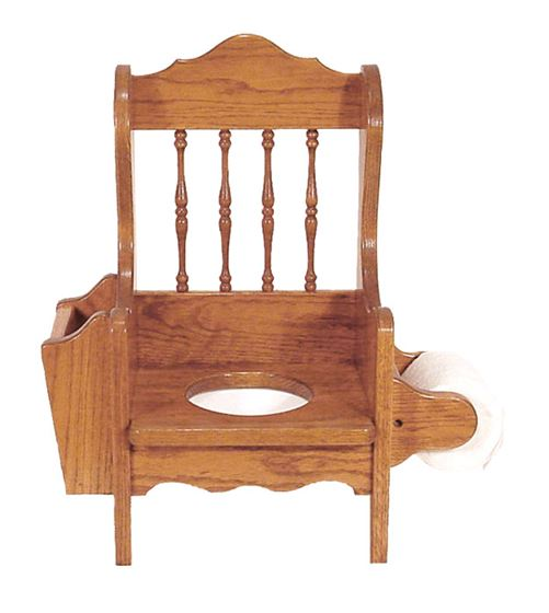 Picture of Solid Oak Potty Chair with Book rack and Toilet Paper Holder