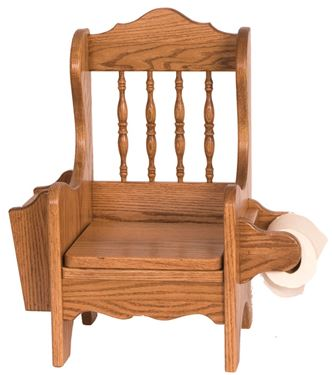 Picture of Solid Oak Potty Chair with Lid,  Book, and Toilet Paper Holders