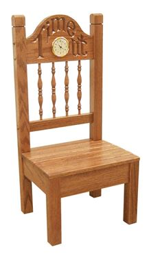 "Picture of Solid Oak Child's ""Time Out"" Chair with Clock"