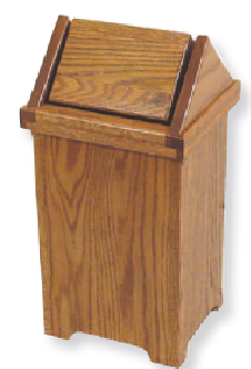 31 Quot Tall Solid Oak Flip Top Trash Bin Four Seasons