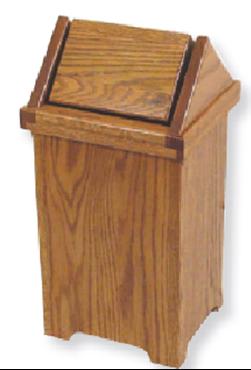 Picture of Solid Oak Large Flip Top Trash Bin