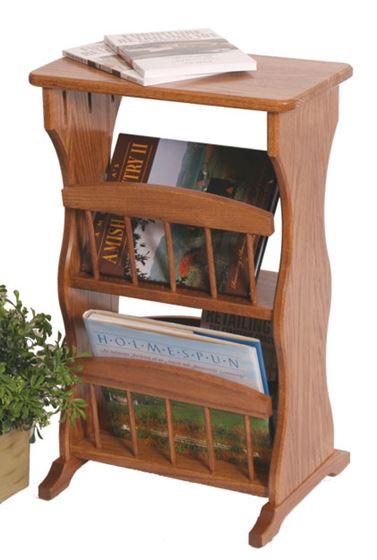 Solid Oak Magazine Rack End Table