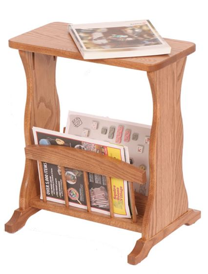 Picture of Solid Oak Magazine Rack End Table