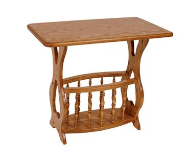 Picture Of Solid Oak Magazine Rack End Table Rectangle Top