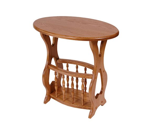 Picture of Solid Oak Magazine Rack End Table Oval Top