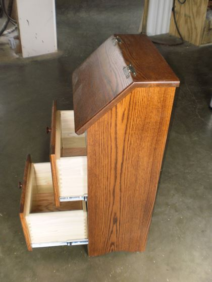 Amish Made Wooden Potato Bin With Drawers