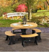 Picture of LuxCraft Poly Table Set Round with 4 Benches