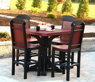 Picture of LuxCraft Poly Square Table Set w / 4 Regular  Chairs