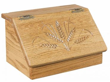 Picture of Solid Wood Bread Box with Wheat Carving