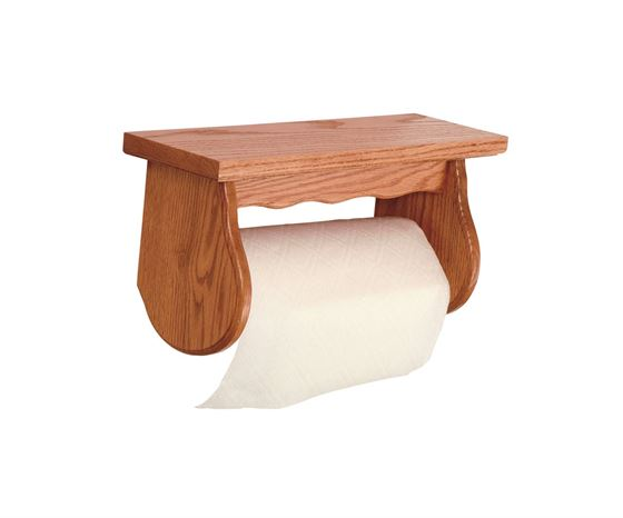 Picture of Solid Oak Paper Towel Holder with shelf