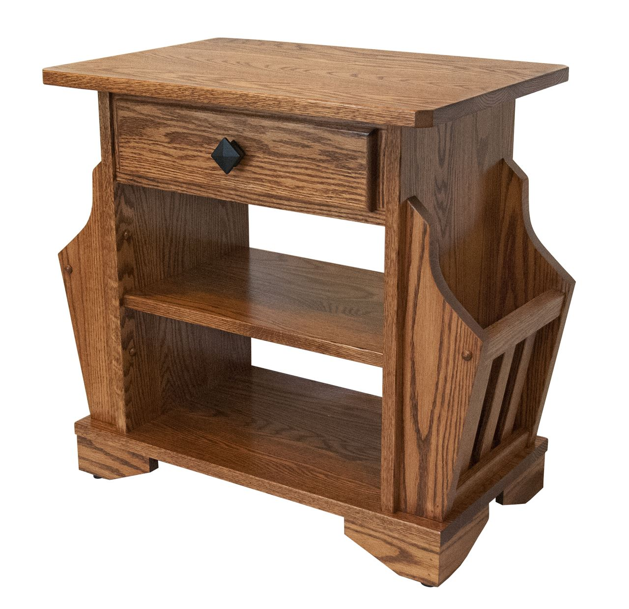 Attractive Picture Of Solid Oak Amish Built Magazine Rack End Table Mission Style W/  Drawer Great Ideas