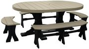 Picture of LuxCraft Poly Oval Table Set with 4 Benches