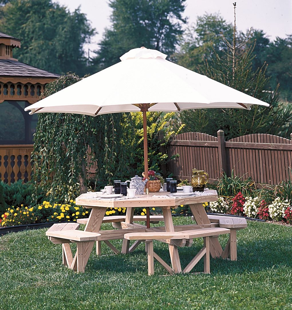 Luxcraft Wood Octagon Picnic Table W Built In Benches