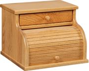 Picture of Solid Oak Roll Top Bread Box with Drawer