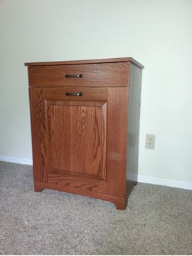 Picture of Amish Double Trash Bin with Drawer