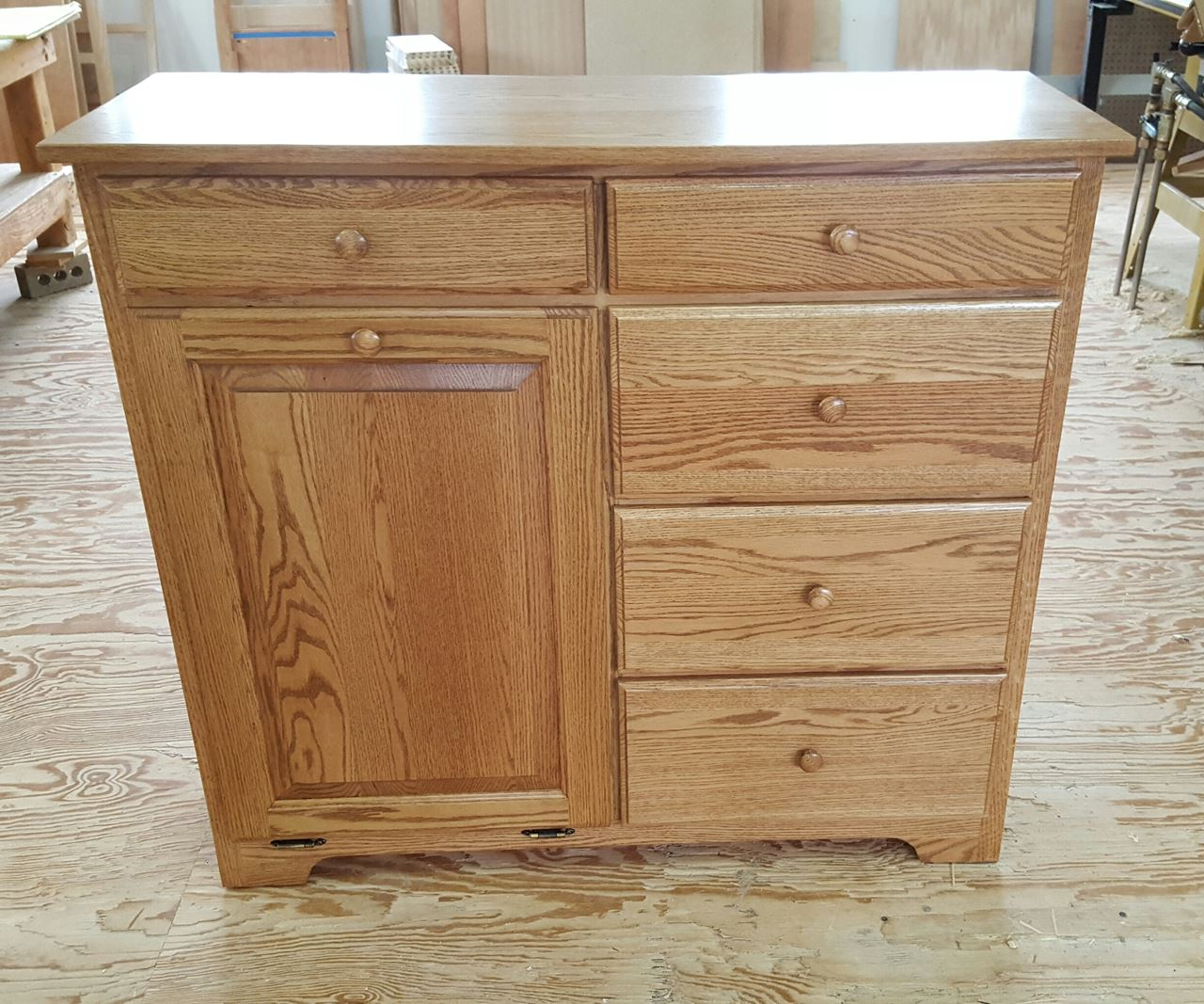 Delux Tilt Out Trash Bin With 5 Storage Drawers