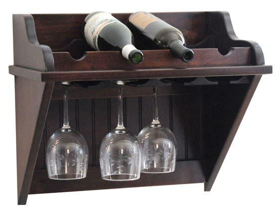 Picture of 4 Bottle Wine Shelf and Stemware Rack