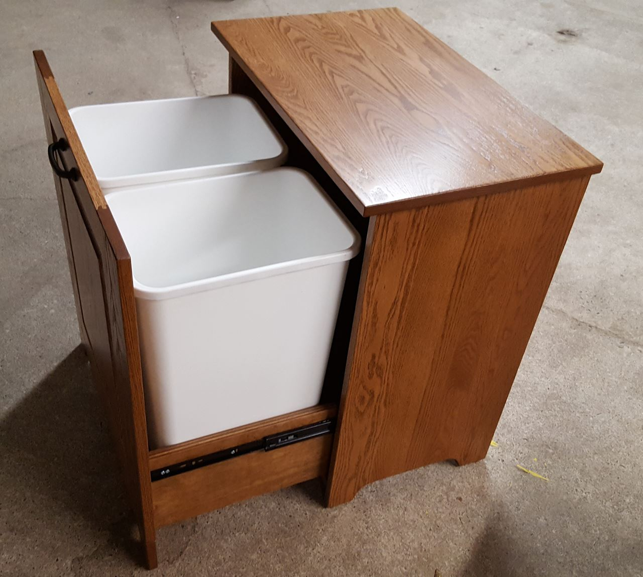Four seasons furnishings amish made furniture amish made tilt out trash bin 2 cans - Amish tilt out trash bin ...