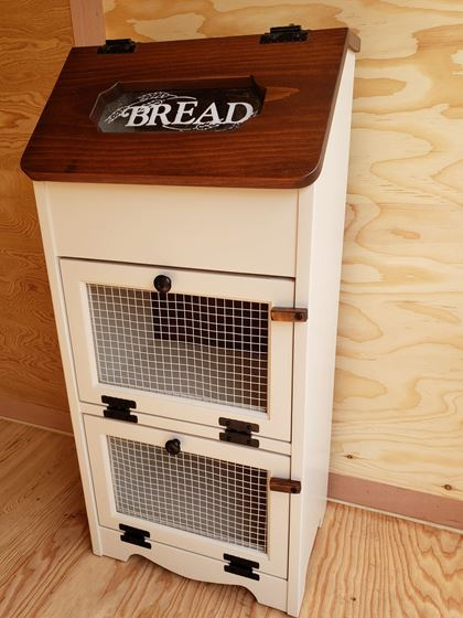 Picture of Solid Pine Vegetable Bin with Bread Box