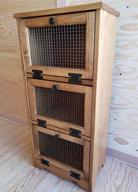 Picture of Solid Pine Vegetable Bin with 3 doors